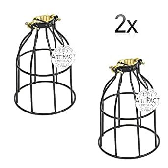 ArtifactDesign Set of 2 Industrial Vintage Style Curved Top Light Cage for Pendant Light Lamps …