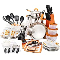 Veica,Highly Durable,90 Pieces Stainless-Steel Cookware Set,Kitchen Gadgets ,Orange