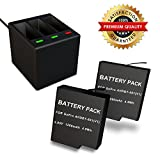 MFW Rechargeable Battery 2 Pack and 3-Channel Charger for GoPro HERO 5 - HERO 5 HERO 6 Black (Compatible with Firmware v02.51 - v02.00 - v01.57 and All Future Firmware Update)