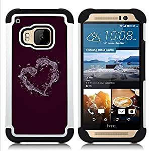 BullDog Case - FOR/HTC ONE M9 / - / Minimalist Heart /- H??brido Heavy Duty caja del tel??fono protector din??mico - silicona suave