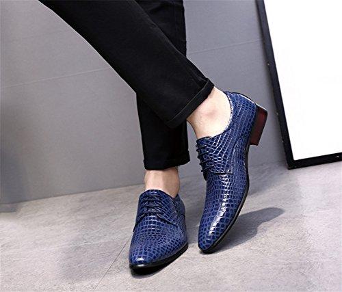 xie Mode Serpentine Hommes Chaussures à lacets Low-cut Chaussures Business Mode Hommes Chaussures 38-47 blue M9NeA