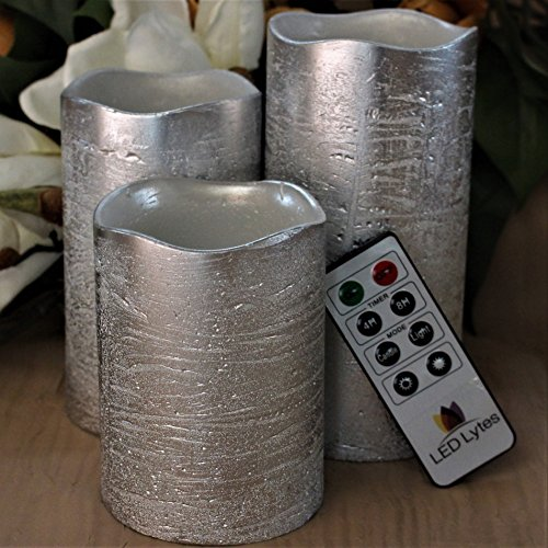 Battery Operated LED Flameless Candles - Set of 3 Round Rustic Silver Coated Ivory Wax with Warm White Flame Flickering LED Candles, auto-Off Timer Remote Control by LED Lytes by LED Lytes (Image #5)