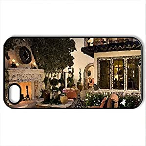 Beautiful patio - Case Cover for iPhone 4 and 4s (Houses Series, Watercolor style, Black)