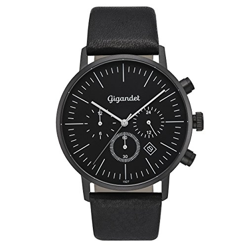 Gigandet Men's Quartz Watch Minimalism III Dualtime Analog Leather Strap Black G22-001
