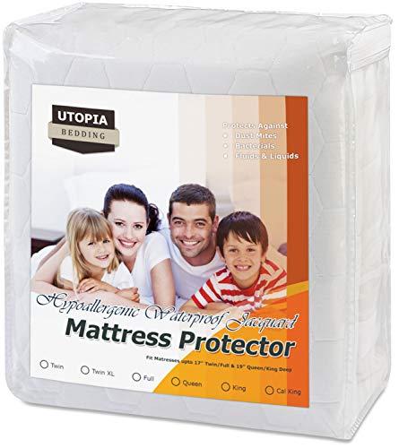 Jacquard California King Pad Mattress (Utopia Bedding Premium Waterproof Mattress Pad - Fitted Mattress Protector - Jacquard Mattress Cover (California King))