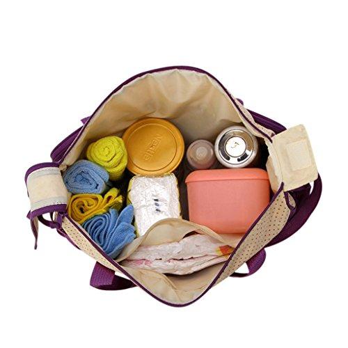 Finerolls Set 5 kits Bolsa de Mama Para Bebe Biberon Bolso/Bolsa/Bolsillo Maternal Bebé para carro carrito biberón colchoneta comida pañal con Gran Capacidad de 8 Colores #1 Morado
