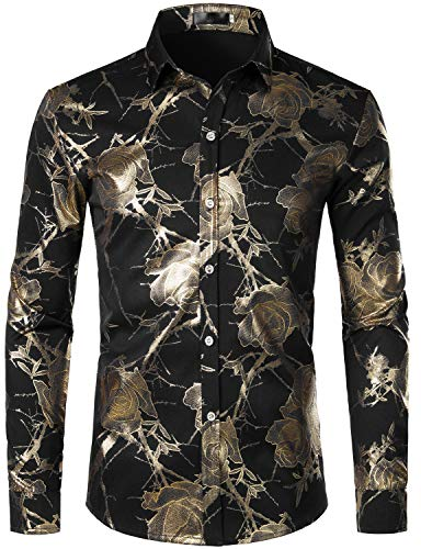 ZEROYAA Men's Shiny Golden Rose Printed Party Shirt Slim Fit Floral Button Down Dress Shirts ZZCL39 Black X-Large