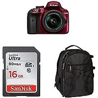 Nikon D3400 w/ AF-P DX NIKKOR 18-55mm f/3.5-5.6G VR (Red) Accessory Bundle