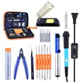 Picture of Soldering Iron Kit, Solder Iron Tool Kit 60W Soldering Iron Adjustable Temperature w\ ON/OFF Switch, Solder Sucker/Solder Stand/Soldering Iron Tips/Aid Tips/Tin Wire Tube/Tweezers/Scissors in Tool Bag