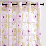 Cheap Top Finel Blooming Peony Voile Window Curtain Sheer Curtain Panels For Living Room 54-inch Width X 96-inch Length,Grommets,Set of 2,Pink