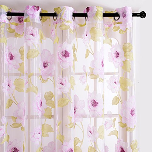 Top Finel Blooming Peony Voile Window Curtain Sheer Curtain Panels For Living Room 54-inch Width X 84-inch Length,Grommets,Set of 2,Pink (Peony Panel)