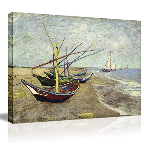 Maries Saintes Oil - Famous Artworks Van Gogh Canvas Prints- Fishing Boats on The Beach at Les Saintes Maries Sea Wave Oil Painting Print On Canvas for Wall Decor Large Modern Wallpaper Picabala-40×30