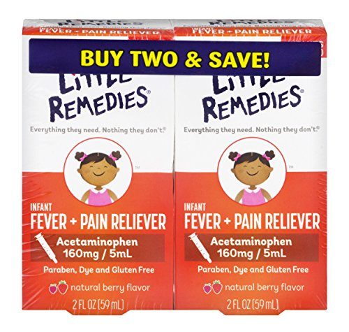 Little Remedies Infant Fever + Pain Reliever |Natural Berry Flavor|Paraben, Dye & Gluten Free| 2 Pack