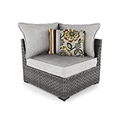 Who says the great outdoors isn't made for luxury living? The Spring Dew outdoor corner chair with cushions offers all high-end design, plush comfort and durability you could ask for, and then some. All-weather, rust-proof aluminum frame prov...