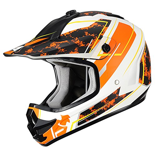 "Triangle Youth OffRoad Motorcycle Helmets ""Stain"" Sport ATV Motocross Dirt Bike [DOT] Yellow (Medium) ()"