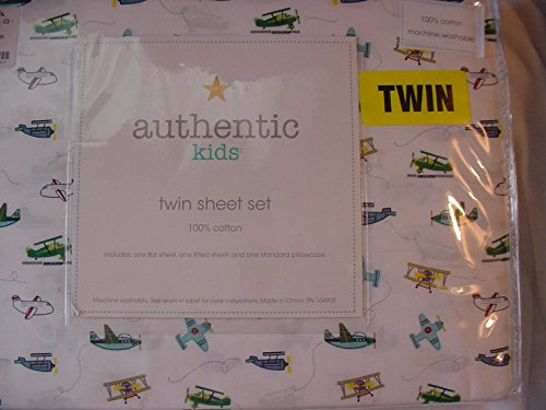 Authentic Kids Airplanes Blue/Green/Red on White Cotton Sheet Set Twin
