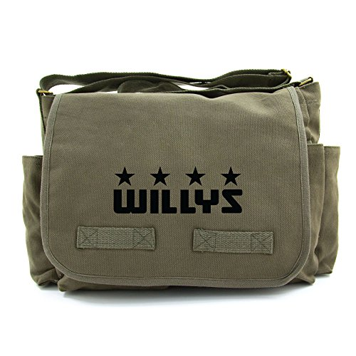 Freedom Army Star - Willys Jeep Freedom Stars Military Army Heavyweight Canvas Messenger Shoulder Bag in Olive & Black