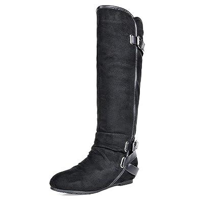 2b2835862d3eb DREAM PAIRS Women's New Akris Black Hidden Wedge Knee High Boots Size 5 B(M