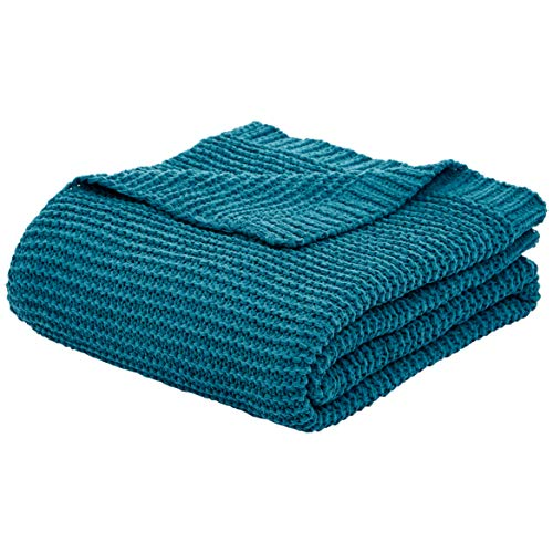 AmazonBasics Knitted Chenille Throw Blanket - 66 x 90 Inches, Teal