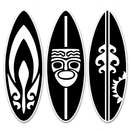 AK Wall Art Tiki Surfboards Vinyl Sticker - Car Window Bumper Laptop - Select Size