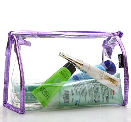 Arbor Home Multi-functional Comestic Bag Transparent Waterproof Travel Portable Makeup Organizers (Purple)