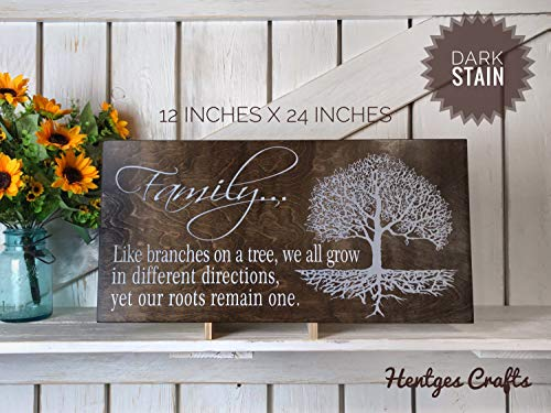 CELYCASY Personalized Family Like Branches on a Tree Wood Sign in Different Directions Yet Our Roots Remain one Wooden Sign Home Decor Wall Hanging