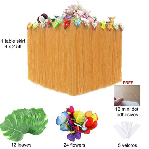 Hawaiian Party Decorations. Luau Table Skirt Set of 1 Beige Grass Table Skirt + 24 Flowers + 12 Leaves + 5 Velcros +Stickers. Moana Birthday, Tiki, Maui, Aloha Theme Party Supplies Set -