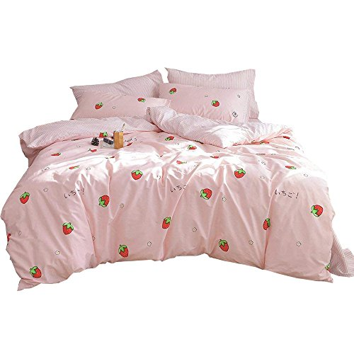 Pink Strawberry Print Girls Bedding Duvet Cover Set Twin Reversible Striped Duvet Cover Set for Kids Teens 100% Cotton Soft Luxury Bedding Set for Children Adults with 2 Envelope Pillowcase, Style2 by AMWAN