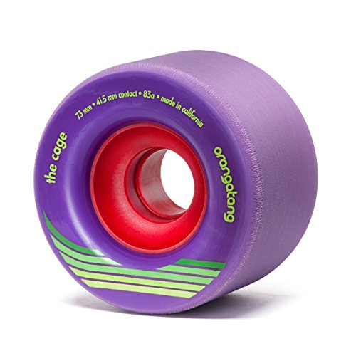 Orangatang Cage 73 mm 83a Freeride Longboard Skateboard Wheels (Purple, Set of 4)