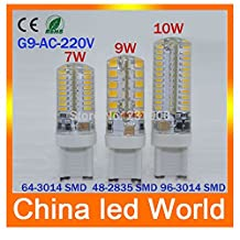 1pcs G9 LED Bulb 220V 10W 7W 9W LED Lamp G9 SMD 2835 3014 2015 new year CREE LED light 360 degree Beam Angle led spotlight lamps(Cole White/10w)