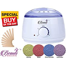 Rapid Melting Wax Warmer, Hair Removal Waxing Kit for Stripless Painless Waxing. Portable Machine Pot Melt Hard Beans for SPA & Facial Skin Body Hand Foot Leg Hair Remover + 4x100g Flavor + 10 Spatula