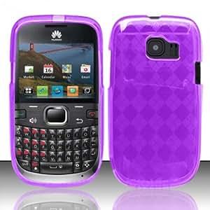 For Huawei Pinnacle 2 M636 (MetroPCS) - TPU Cover Case w/ Argyle Pattern - Purple TPU