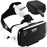VR Headset Virtual Reality Headset with Trigger/ Headphone/Remote Controller and Hard Travel Storage Bag Fit for iPhone Android and Microsoft Smartphone
