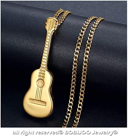 Cha/îne Grain Caf/é 60cm LE BAGACIER Ensemble Pendentif Collier Homme Guitare Gipsy Acier Plaqu/é Dor/é Or