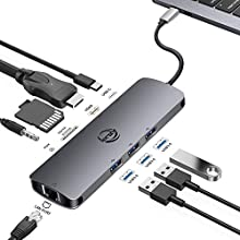 USB C Ethernet Hub, AZLink 9 in 1 USB Type C Multiport Adapter with HDMI 4K, 3 USB 3.0, USB-C PD Charging Port, Audio/Mic, SD TF Card Reader for MacBook Pro and More