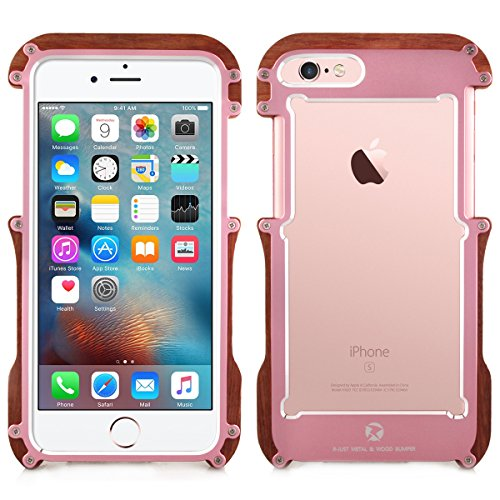 Alienwork Coque pour iPhone 6/6s Or rose Case Etuis Housse Anti chocs mode Bois pink AP6S05-03