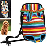 Pet Backpack Dog Carrier,Lonni Portable Pet Chest Bag Breathable Rainbow Solid Mesh Travel Pack with Legs Out for 0-5.5lb Small Dogs Cats(Small)