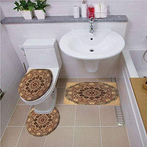 Bath mat set Round-Shaped Toilet Mat Area Rug Toilet Lid Covers 3PCS,Zodiac Decor,Micro Cosmos Universe Icon Eastern Lace Mandala Form with Signs on Grunge Back,Brown Tan Bath mat set Round-Shaped Toi