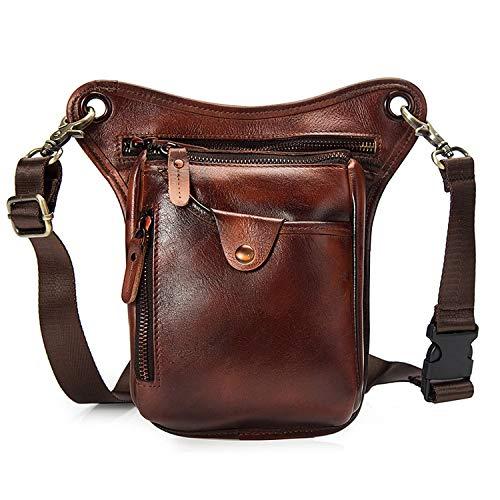 Genuine Leather Waist Leg Bag Men Real Leather Fanny Packs Casual Messenger Shoulder Crossbody Bags Camera Phone Pouch Belt Bag,Brush