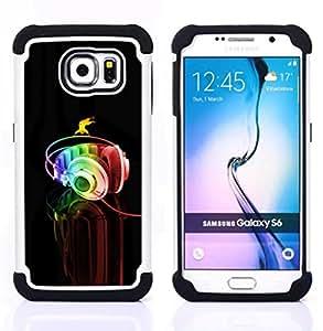 For Samsung Galaxy S6 G9200 - Headphones Colorful Music Art Rainbow Dance /[Hybrid 3 en 1 Impacto resistente a prueba de golpes de protecci????n] de silicona y pl????stico Def/ - Super Marley Shop -