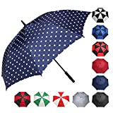 BAGAIL Golf Umbrella 68/62/58 Inch Large Oversize Windproof Waterproof Automatic Open Stick Umbrellas for Men and Women (Blue/Dot, 58 inch)