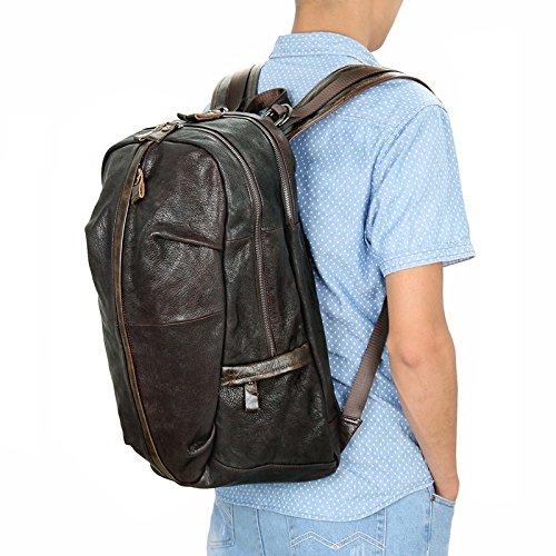 Color : Brown, Size : L Lydianzishangwu Mens Backpack Retro Leather Shoulder Bag Sheepskin Backpack Leather Long Shoulder Bag Comfortable Big Bag