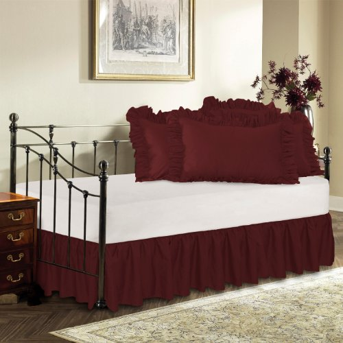 Harmony Lane Day Bed Ruffled Bed Skirt, Burgundy, 14'' Drop Bedskirt ( Available in 16 Colors)