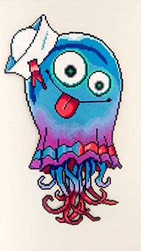 Superfast Jellyfish Perler Bead Sprite - Large Wall Decor - Gorillaz Art - Phase Three Art by Y2KDesign