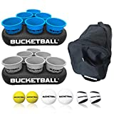 BucketBall - Team Color Edition - Party Pack (Light Blue/Silver): Original Yard Pong Game: Best Camping, Beach, Lawn, Outdoor, Family, Adult, Tailgate Game