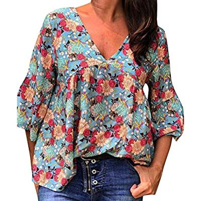 Boho Tops for Womens Floral Print 3/4 Sleeve V Neck Loose Button Down Shirt Blouse Flowy Summer Casual Tops
