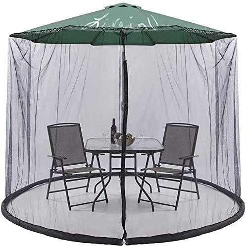 屋外の庭の蚊カバー、9フィートの傘テーブル画面ジッパー蚊バグ昆虫ネットメッシュガーデン、ポリエステル網100%屋外のパティオ網キャノピーメッシュ