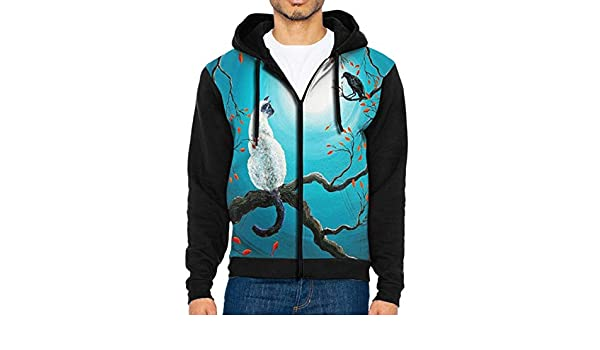 Mens Pullover Hood Siamese Cat and Crow Zip Hoodies Hooded Casual Jackets Coats