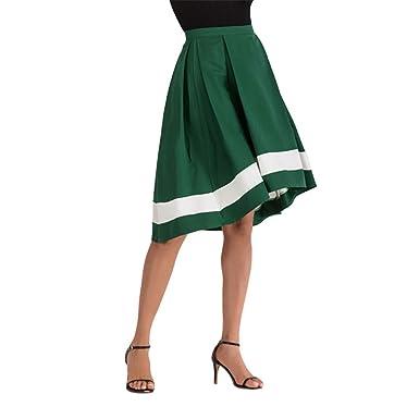 VEZAD Falda Larga Plisada de Cintura Alta con cinturón para Mujer ...