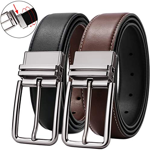 Mens Belts,Reversible Belts for Men Big and Tall Leather Belts Dress Black Brown 52 Belt - Brown Mens Dress Belts